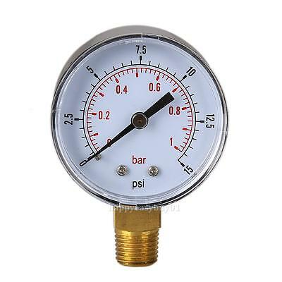 Low Pressure Gauge for fuel air oil or water 50mm 0/15 PSI & 0/1 Bar 1/4 BSPT A