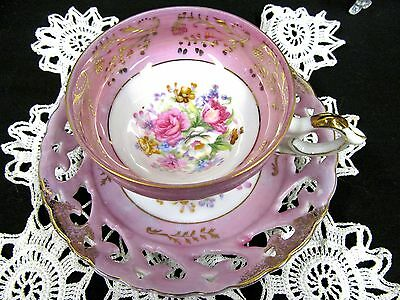 Made In Japan Tea Cup And Saucer 3 Footed Pink Open Edge Teacup Rose Floral