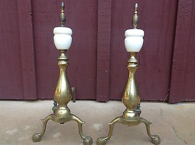 """Vintage Andirons Brass And Marble Mid Century 20"""" Pair Of Fireplace Dogs"""
