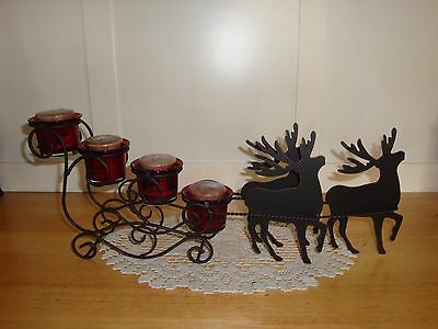 Pretty Metal Reindeer and sleigh Candle Holder w/4 candles-Christmas-Winter-LQQK