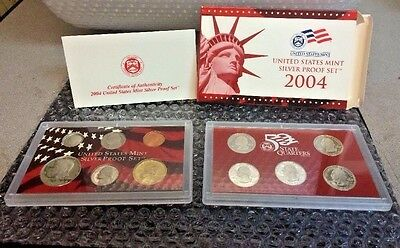 2004 S SILVER PROOF SET ALL 11 Coins COMPLETE US Mint Original Sealed Box COA 10