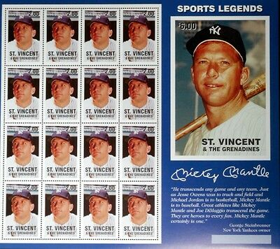 1997 St. Vincent & The Grenadines Mickey Mantle Stamps Sheet Baseball Stamps