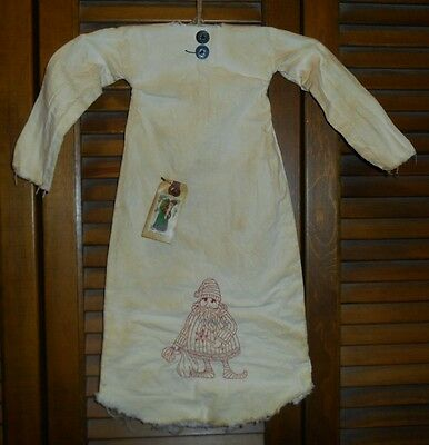Primitive Decor REDWORK SANTA Nightshirt,Cupboard, Grungy,Christmas, Old Time