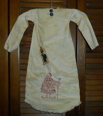 Primitive Decor REDWORK SANTA with STAFF Nightshirt,Cupboard, Grungy,Christmas