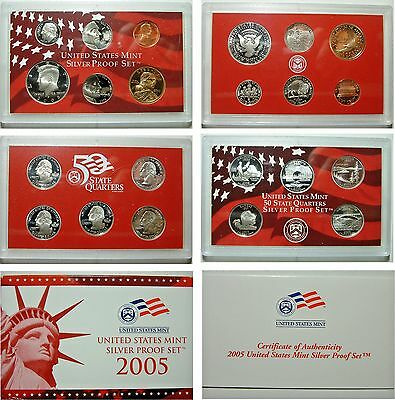 2005 S SILVER PROOF SET ALL 11 Coins COMPLETE US Mint Original Sealed w Box COA