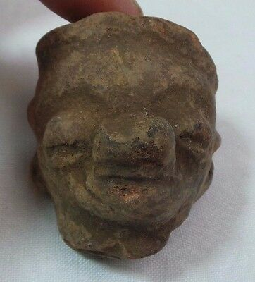 Pre Columbian Colombian Mayan Terracotta Figure  Head #9