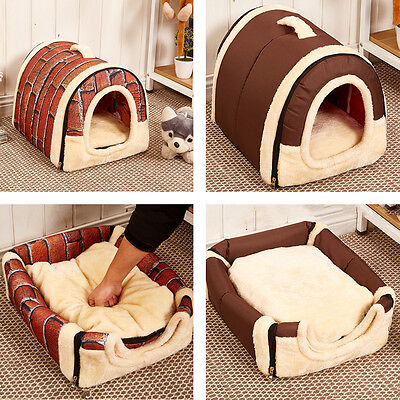 Soft Pet Dog Bed House Kennel Mat Pad Warm Washable Puppy Cat Cushion