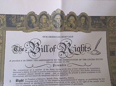 """Vintage Copy of The Bill Of Rights 16"""" x 20"""". Political"""