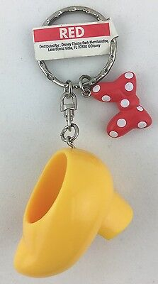 Disney Parks Minnie Mouse Shoe and Bow Dangling Keychain Ring New