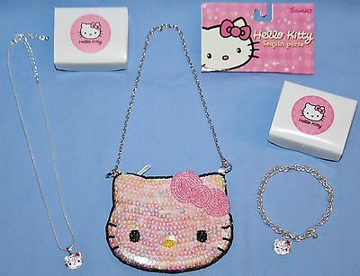HELLO KITTY NECKLACE & BRACELET JEWELRY LOT with Sequin Coin Purse Avon 2003 NEW
