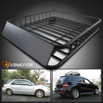 """43"""" Black Round Steel Luggage Cargo Carrier Extension Roof Rack Basket 220 Lbs"""