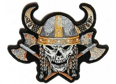 """(H47) VIKING SKULL with AXES & HORNED HELMET 4.5"""" x 3.5"""" iron on patch (4955)"""