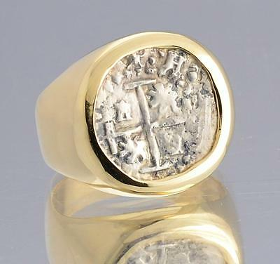 Authentic 1/2 Reale Treasure Cob Coin in Solid 14kt Gold Ring circa 1600's