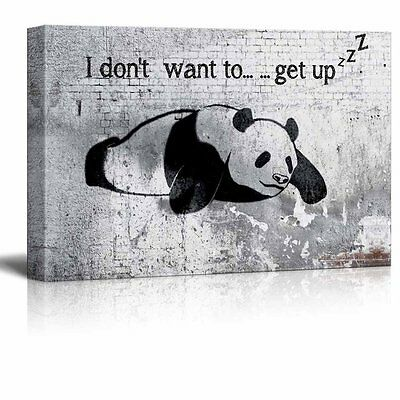 "wall26 - Canvas Wall Art - Lazy Panda Painting on Shabby Wall - 12"" x 18"""