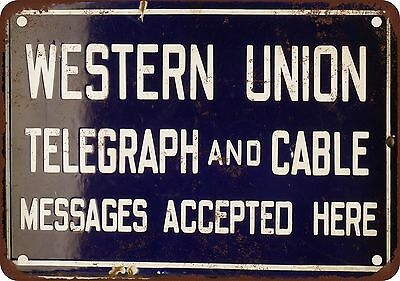 Western Union Telegraph and Cable Vintage Look Reproduction Metal Sign