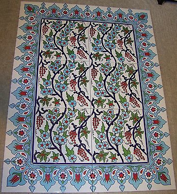 "32""x24"" Turkish Iznik Red Tulip & Daisy Pattern Border Ceramic Tile Mural Panel"