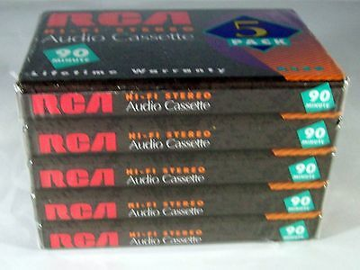 RCA 5 Pack   90 Minute Audio Cassette Tapes New Sealed