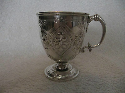 Victorian english sterling silver mug/tankard gothic st 164gr london 1864