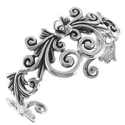 TAXCO VINTAGE STYLE 925 FLOWER AND SPIRALS CUFF BRACELET-Mexico Sterling Silver