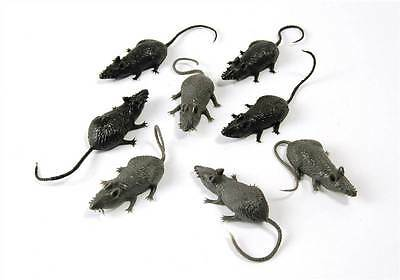 Scary Fake Rubber Mice, 8/Pkt,Loot Bag Filler,Halloween,Animal Prop,Fancy Dress