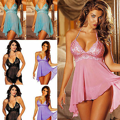 Women's Sleepwear Babydoll Nightwear Thongs Underwear Dress Lingerie Plus Size H