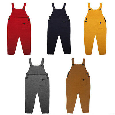 New Knit Baby Kids Boys Girls Suspender Trousers Long Bids Pants Overalls
