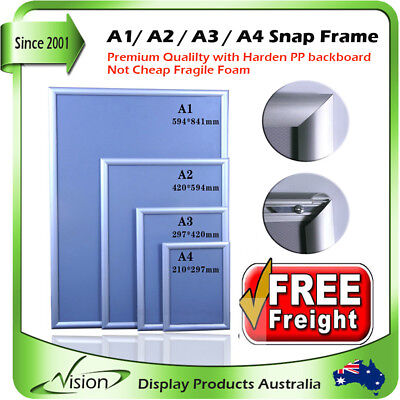 A1 A2 A3 A4 PREMIUM Aluminum Snap Poster Click Picture Frame Sign Holder FREE PO