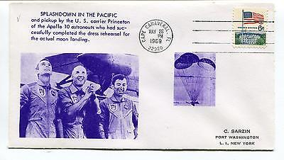 1969 Splashdown in the Pacific Apollo 10 Cape Canaveral Florida NY Space Cover