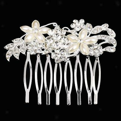 Vintage Silver Wedding Party Hair Comb Crystal Bridal Accessories Headpiece