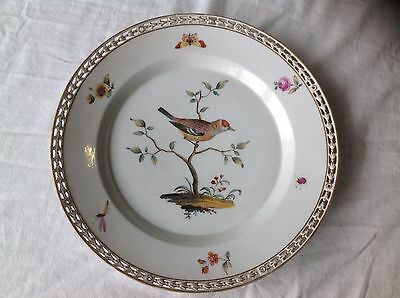 Antique 19th C KPM Berlin Porcelain Bird ,Bug and Flowers Reticulated Plate