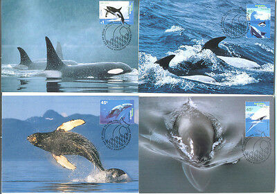 Australian Antarctic Territory Whales 4 official postcards stamped set-1995