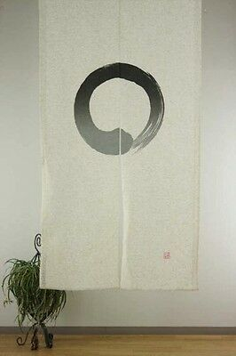 Linen Mixed Noren Japanese Curtain Tapestry Curtain Enso Circle Made in Japan