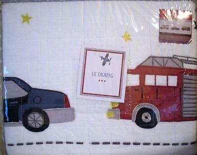 Lil Dickens Twin size Appliqued Quilt Fire Truck Engine Police Car Kids Boys