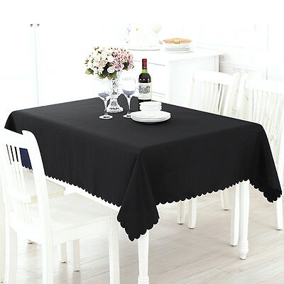 Rectangle Cotton Blend Table Cloth Cover Wedding Birthday Party Easy to Use