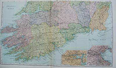 1906 Large Map Ireland South Bantry Tralee Limerick Wexford