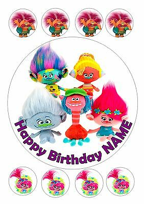 "Troll/trolls  Birthday Cake  Round Edible Iced Icing 7.5"" + 8 Cupcake Toppers"