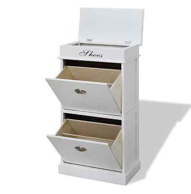 Shoe Storage Cabinet White Slim Unit Modern Furniture with Top Container