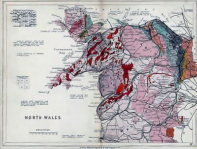 1904 Geological Map Stanford North Wales