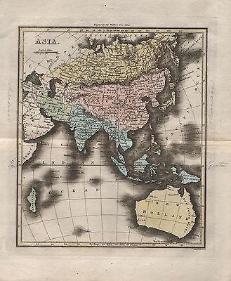 1816 Antique Map Walker Hand Coloured Asia & New Holland