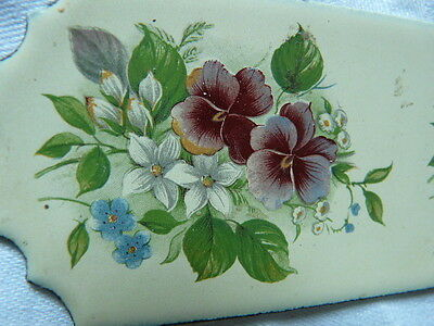 Rare French set 2 enamel door plates plaques pansy