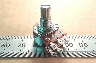 Solder Lug Splined T18 Shaft Stereo 16mm Linear Potentiometer, Lin Pot