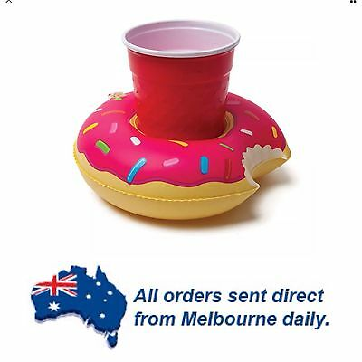 PINK Round Yummy Donut Inflatable Drink/Can Float Holder Pool Party Beach