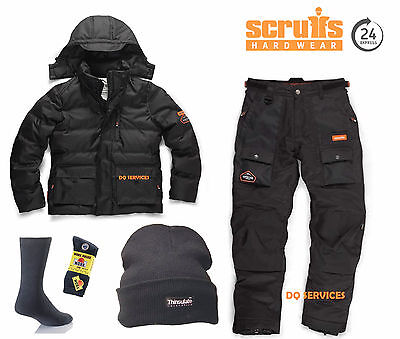 SCRUFFS Expedition Bubble Work Jacket & Thermo Waterproof Trousers + HAT & SOCKS