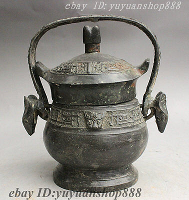 Old Chinese Dynasty Bronze Dragon Mouse Beast Head Statue Incense Burner Censer