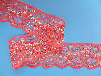 "5 METRES - Pretty Red and Gold Flower Nottingham Lace Trim 2.5""/6cm TOP SELLER"