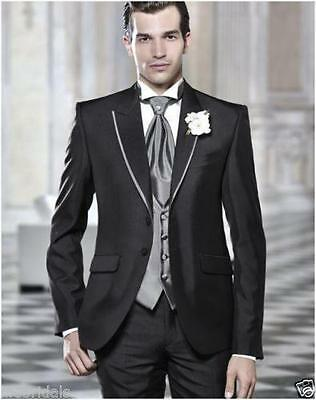 Custom Made New Arrival Groom Tuxedos Men's Suit Black Grooms Wedding/Prom Suits
