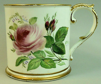 Antique Staffordshire Hand Painted Christening Tankard C.1830