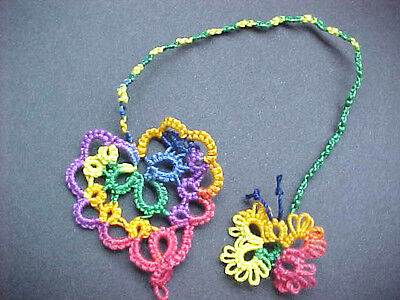 2 Tatted Bookmark Heart Butterfly Cord Rainbow  Lace New Tatting by Dove Country