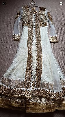 White Lace & Gold Anarkali Designer Bollywood Bridal Jacket Dress Indian Fashion