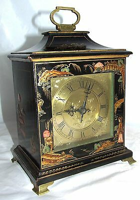 Vintage Black Lacquered Chinoiserie Style Bracket Mantel Clock / Timepiece